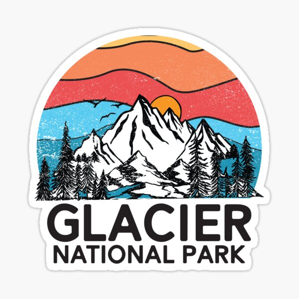 Vintage Glacier National Park Retro 80s Montana Mountain Sticker