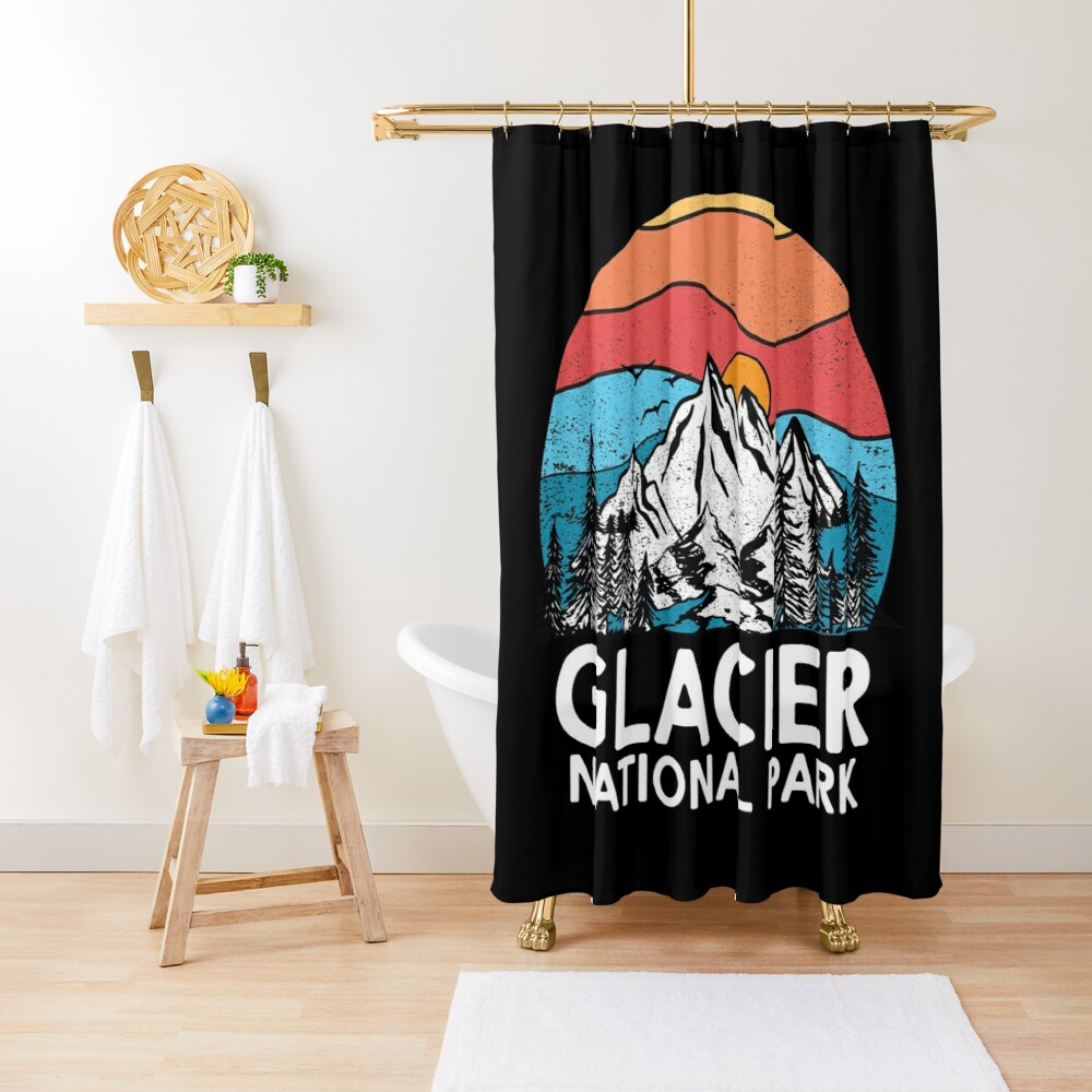 Vintage Glacier National Park Retro 80s Montana Mountain Shower Curtain