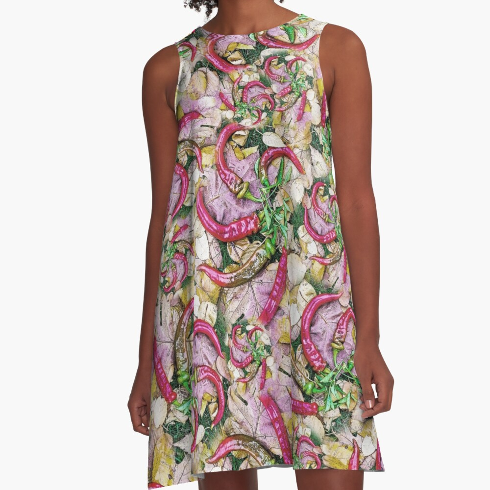 HOT SUMMER PEPPERS ON AUTUMN LEAVES 2 A-Line Dress