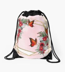Geometric Metallic-Gold & Blush, Burgundy flower bouquets Drawstring Bag