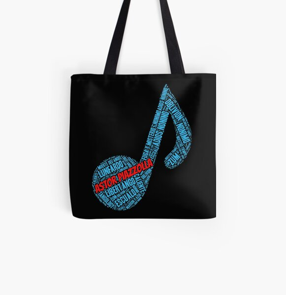 Astor Piazzolla - Blue Music Note Word Art All Over Print Tote Bag