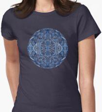 Indigo Blue Watercolor Swirl Pattern Womens Fitted T-Shirt