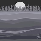 Tranquil Landscape Night Sky and Moon by Annette Marionneaux Stevenson