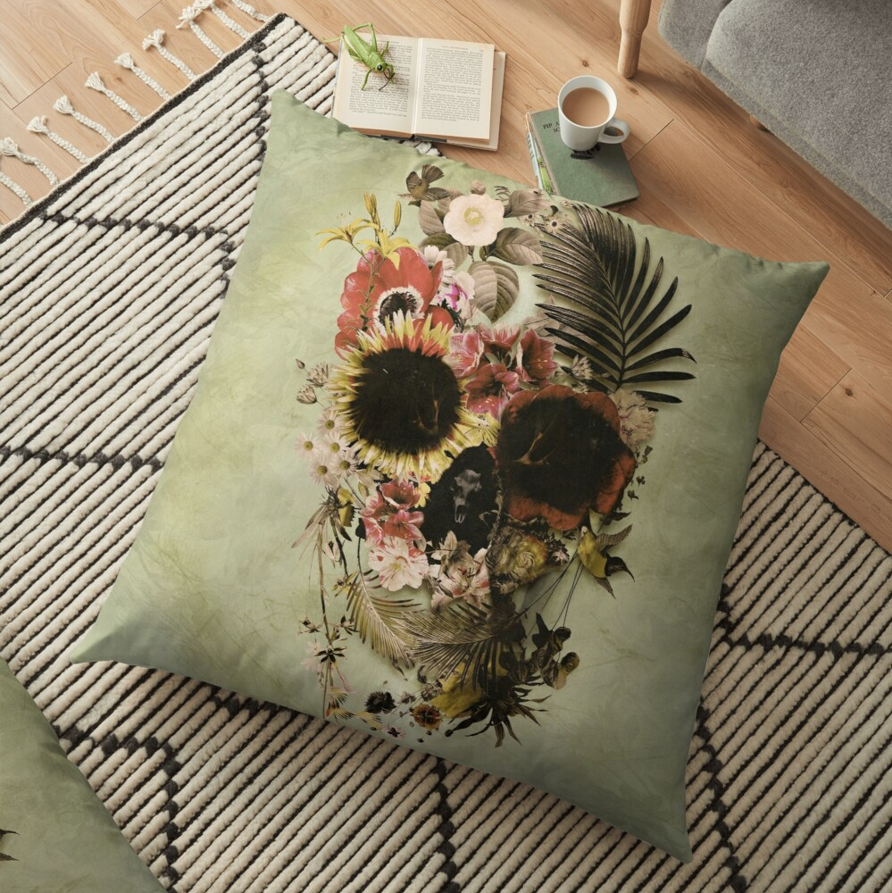 Garden Skull Light Floor Pillow