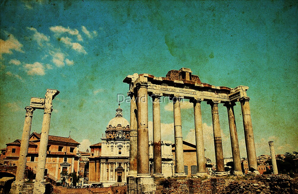 Temples of Saturn & Vespasian, Rome by David Carton