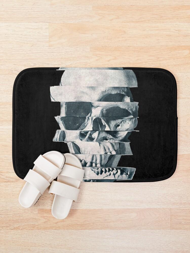 Alternate view of Glitch Skull Mono Bath Mat