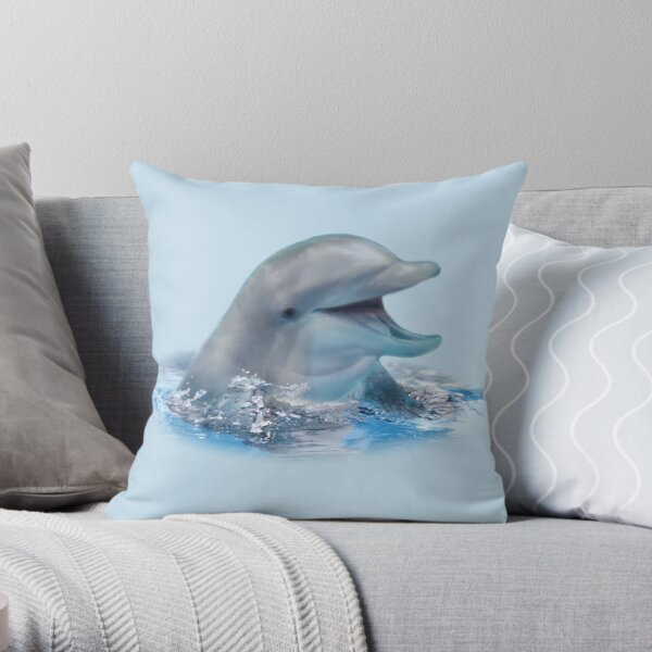 Happy Dolphin Throw Pillow