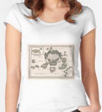 Vintage Karte der Kanarischen Inseln (1656) Tailliertes Rundhals-Shirt