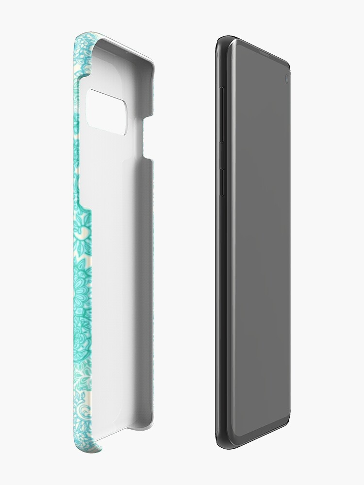 Alternate view of Happy Place Doodle in Mint Green & Aqua Case & Skin for Samsung Galaxy
