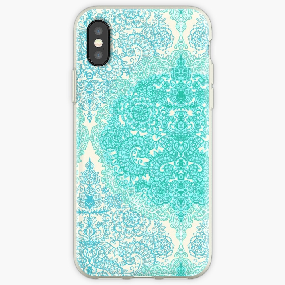 Happy Place Doodle in Mint Green & Aqua iPhone Case & Cover