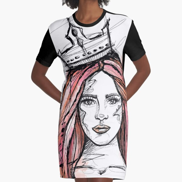 LADY Queen Mermaid Sketch watercolor T-Shirt Kleid