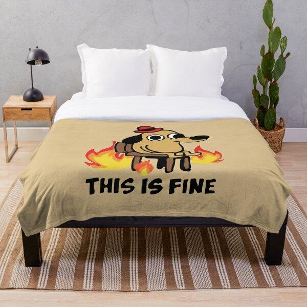 """This Is Fine"" Meme Throw Blanket"