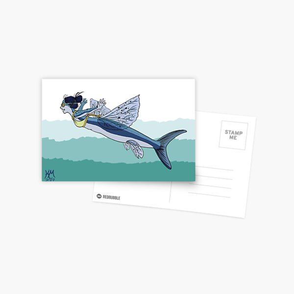 Flying Fish Mermaid Postcard