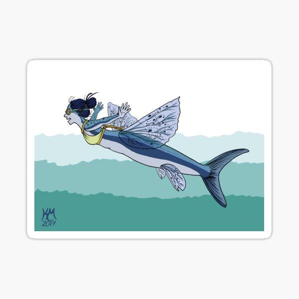 Flying Fish Mermaid Sticker