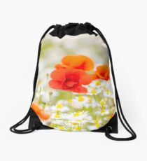 Poppy in the Field of Daisies Drawstring Bag