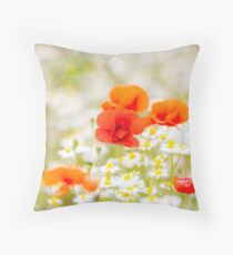 Poppy in the Field of Daisies Throw Pillow