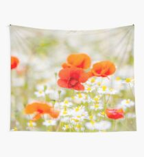 Poppy in the Field of Daisies Wall Tapestry