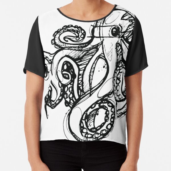 Octopus Outlines Sketch Linework drawing Chiffon Top