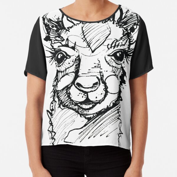 Llama Lama Sketch handdrawn Drama black Outlines Alpacca Chiffon Top