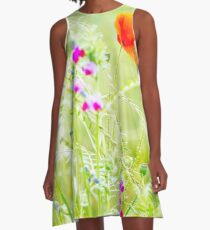 Poppies and Sweet Peas A-Line Dress