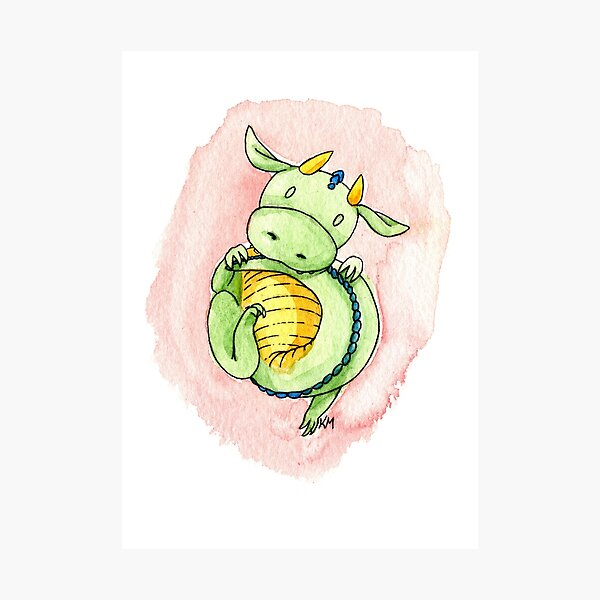 Bashful Baby Dragon Photographic Print