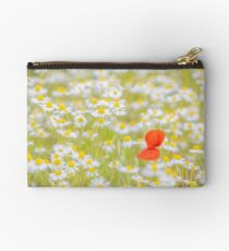 Field of Daisies and the Lonely Poppy Zipper Pouch