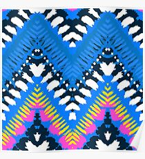Bohemian print with chevron pattern in blue colors Poster