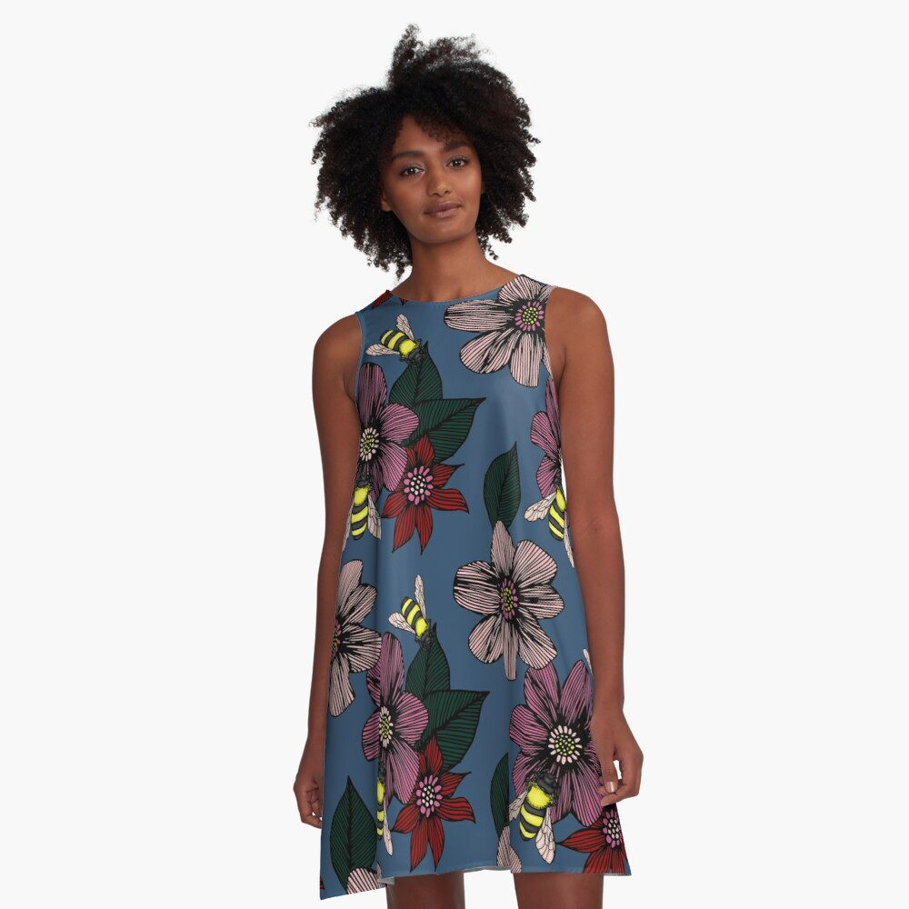 Dark Floral with Bees A-Line Dress