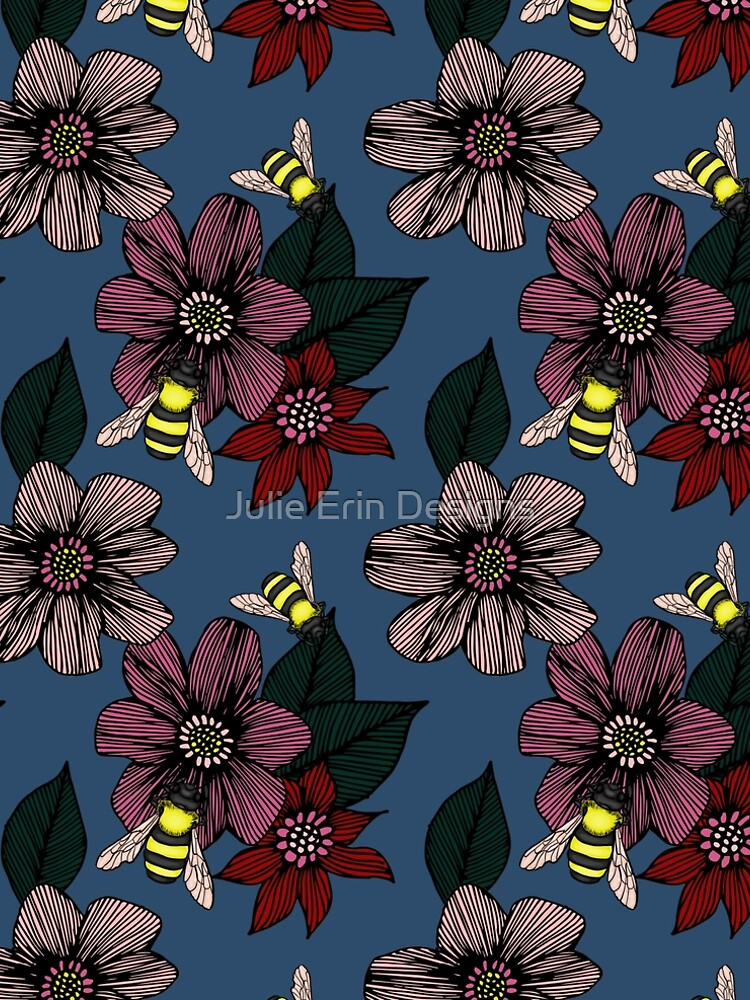Dark Floral with Bees by julieerindesign