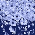 The Blues Navy Blue and Periwinkle watercolor floral art by Glimmersmith