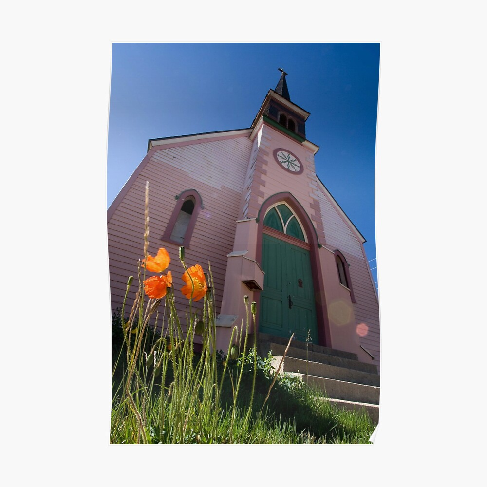 Pink church in Leadville Poster