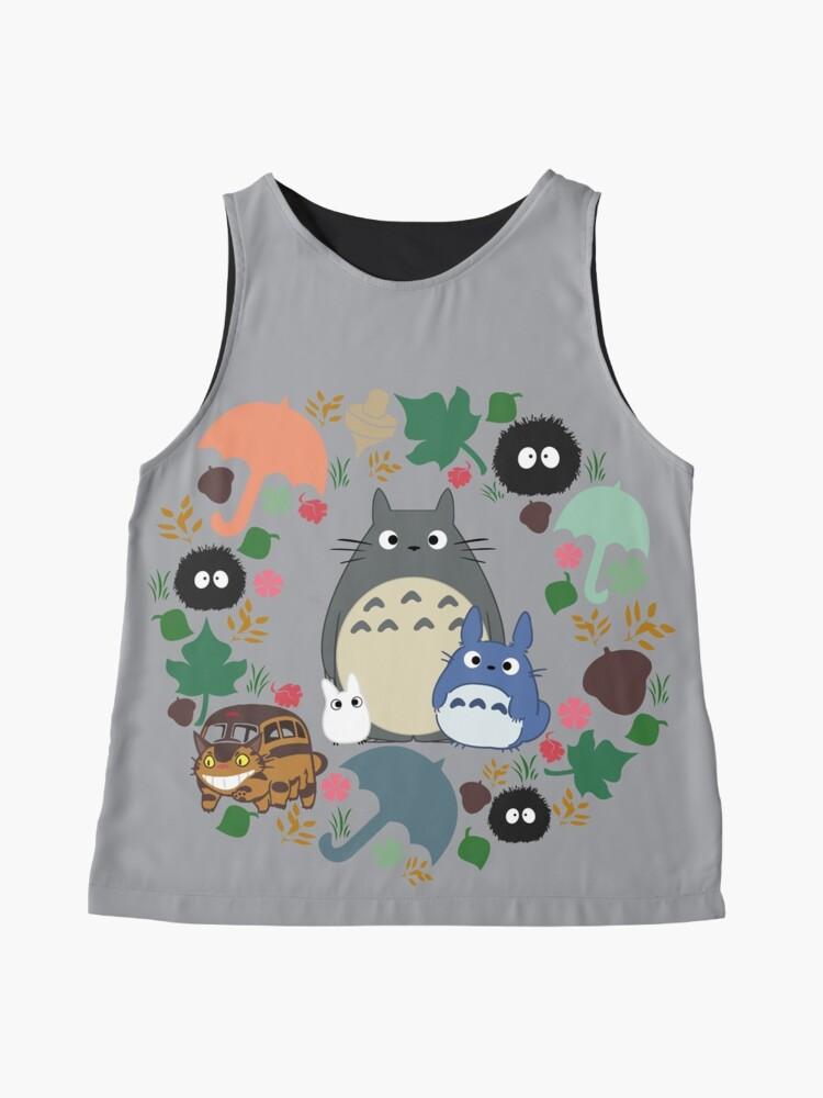 Alternative Ansicht von Mein Nachbar Totoro Kranz - Anime, Catbus, Ruß Sprite, Blau Totoro, Weiß Totoro, Senf, Ocker, Regenschirm, Manga, Hayao Miyazaki, Studio Ghibl Ärmelloses Top