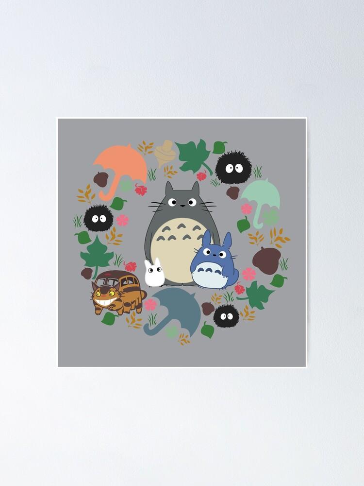 Alternative Ansicht von Mein Nachbar Totoro Kranz - Anime, Catbus, Ruß Sprite, Blau Totoro, Weiß Totoro, Senf, Ocker, Regenschirm, Manga, Hayao Miyazaki, Studio Ghibl Poster