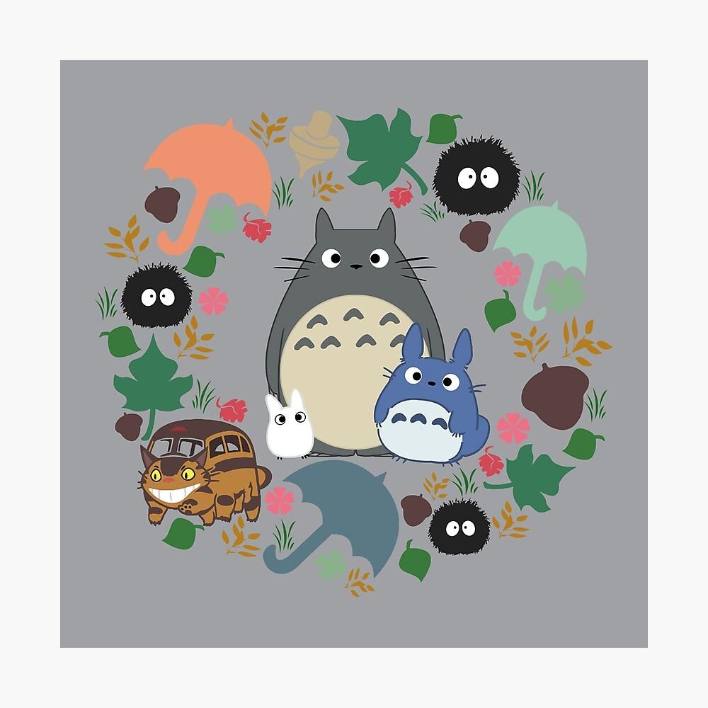 Mein Nachbar Totoro Kranz - Anime, Catbus, Ruß Sprite, Blau Totoro, Weiß Totoro, Senf, Ocker, Regenschirm, Manga, Hayao Miyazaki, Studio Ghibl Fotodruck