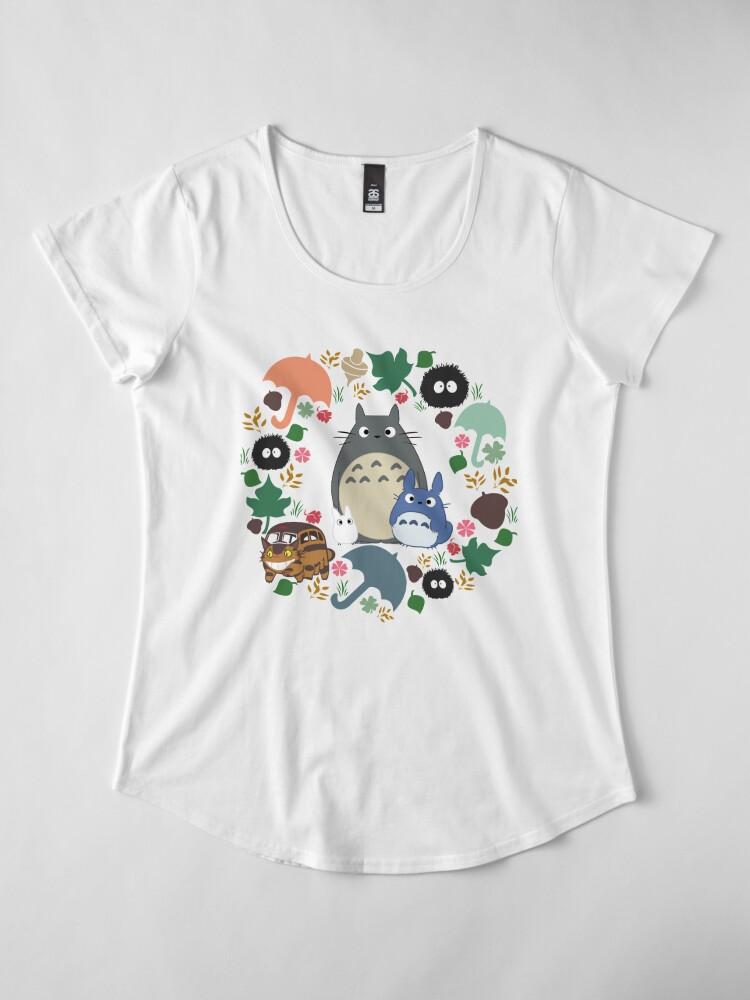 Alternative Ansicht von Mein Nachbar Totoro Kranz - Anime, Catbus, Ruß Sprite, Blau Totoro, Weiß Totoro, Senf, Ocker, Regenschirm, Manga, Hayao Miyazaki, Studio Ghibl Premium Rundhals-Shirt
