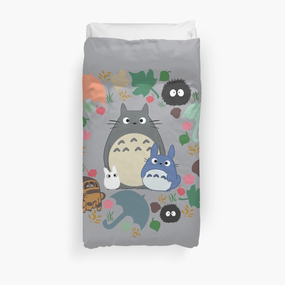 Mein Nachbar Totoro Kranz - Anime, Catbus, Ruß Sprite, Blau Totoro, Weiß Totoro, Senf, Ocker, Regenschirm, Manga, Hayao Miyazaki, Studio Ghibl Bettbezug