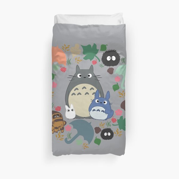 My Neighbor Troll Wreath - Anime, Catbus, Soot Sprite, Blue, White, Mustard, Ochre, Umbrella, Manga, Hayao Miyazaki Duvet Cover