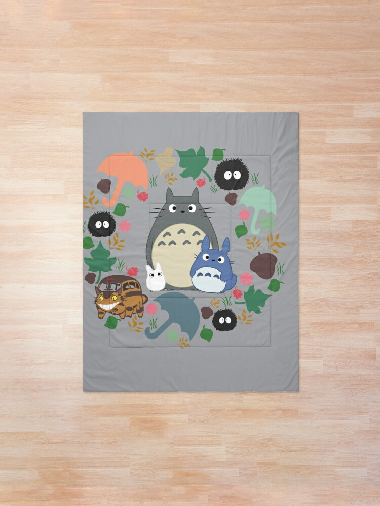 Alternate view of My Neighbor Totoro Wreath - Anime, Catbus, Soot Sprite, Blue Totoro, White Totoro, Mustard, Ochre, Umbrella, Manga, Hayao Miyazaki, Studio Ghibl Comforter