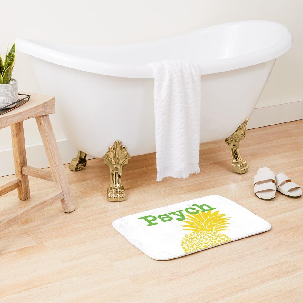 Minimalist Psych TV Show Pop Culture Lime Yellow Fun Green Pineapple Bath Mat