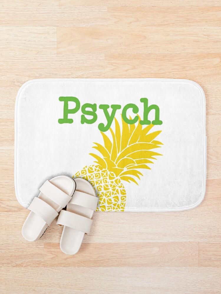 Alternate view of Minimalist Psych TV Show Pop Culture Lime Yellow Fun Green Pineapple Bath Mat