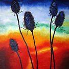 Teasles at sunrise by Pauline Jones