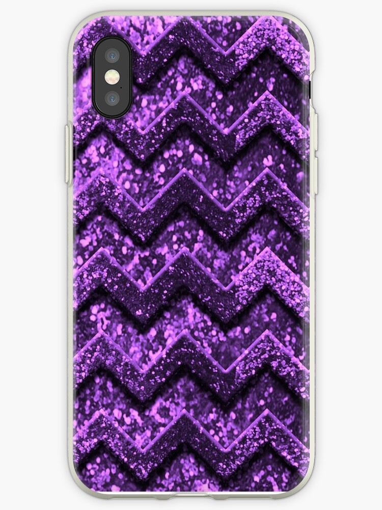 Cute Purple Glitter Chevron Pattern by frittata