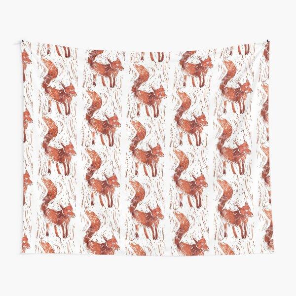 Fox Lino Cut Tapestry