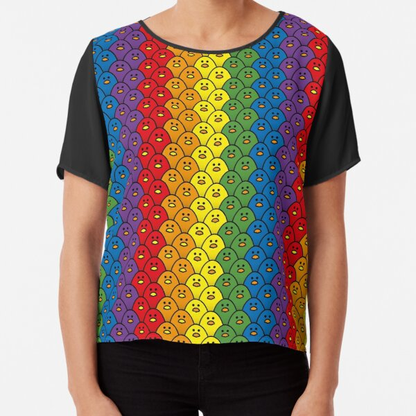Rainbow Coloured Chicks in Vertical Double Rows Chiffon Top