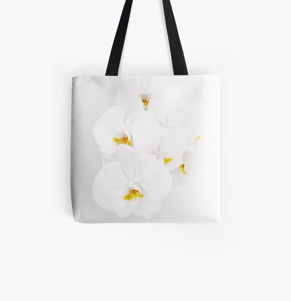 White orchids All Over Print Tote Bag