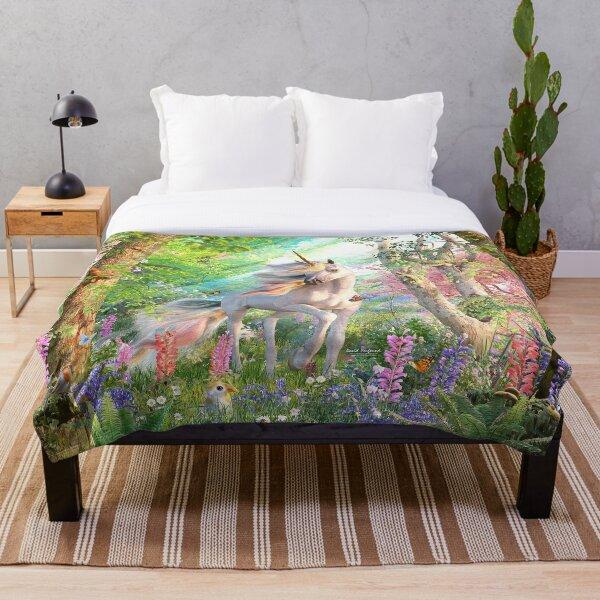 Unicorn Enchanted Forest Throw Blanket