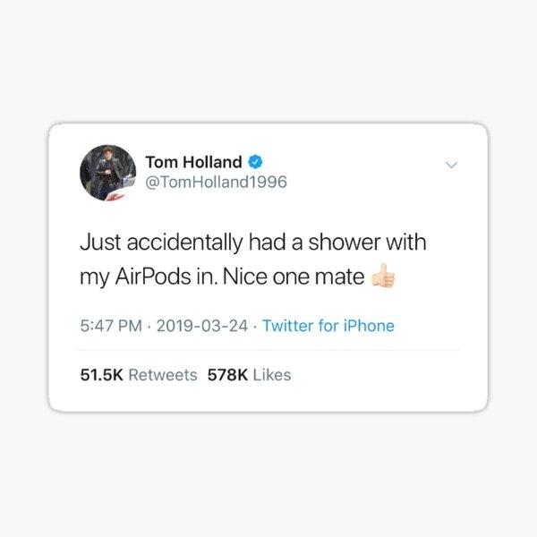 Tom Holland Airpod Tweet Sticker