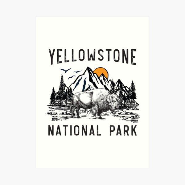 Vintage Yellowstone National Park Wyoming Mountains Bison Art Print