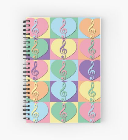 Treble Clefs and Hearts Spiral Notebook