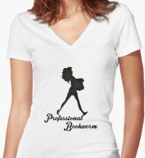 Professional Bookworm Women's Fitted V-Neck T-Shirt